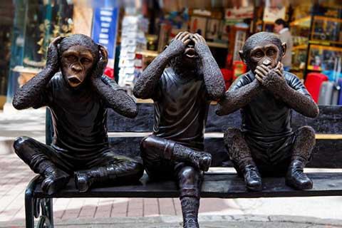 Animal Sculptures Three Bronze Monkeys Statues for Garden Decor
