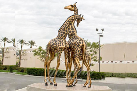 Animal decorative statue brass giraffe statues for sale