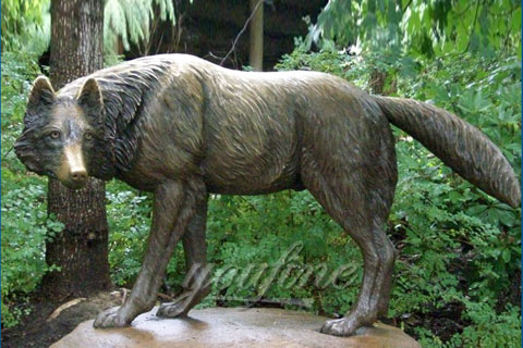 Antique Garden Life Size Bronze Wolf Statues For SaleAntique Garden Life  Size Bronze Wolf Statues For