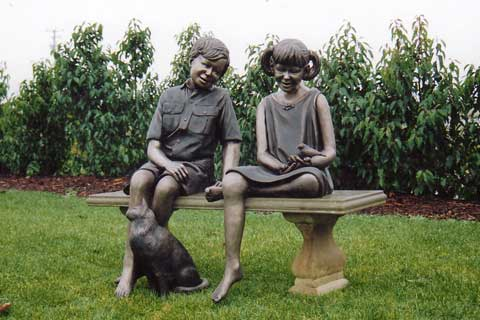 Bronze Casting Foundry Bronze Statue Two Children Sitting on a Bench Chatting