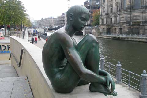 Bronze Sculpture Quiet Boy Near the River