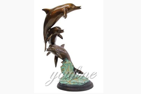 Home Decorative Double Bronze Dolphins Statues