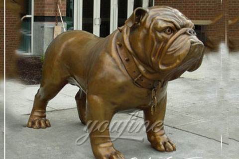 Metal Animal Art Life-Size Cast Bronze Bulldog Statues