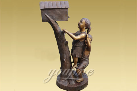 Outdoor Bronze mailbox sculpture with kids