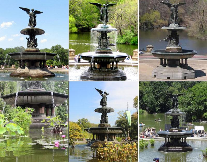 Outdoor Decorative Bronze Bethesda Fountain rises high above Bethesda Terrace Sculpture (2)