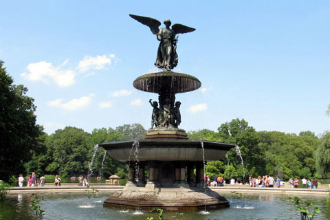 Outdoor Decorative Bronze Bethesda Fountain rises high above Bethesda Terrace Sculpture for Sale