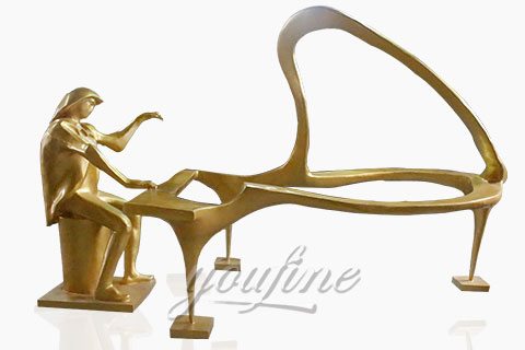 Outdoor abstract bronze music sculptures
