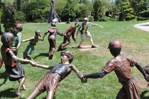 Popular Garden & Yard Bronze Sculpture with Children Playing