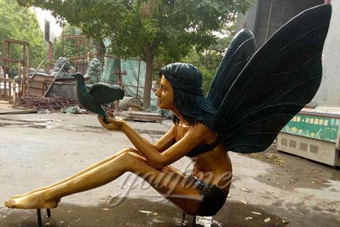 Western Bronze Girl Angel Sculpture With Bird