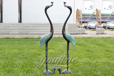 large outdoor garden bronze metal crane sculptures