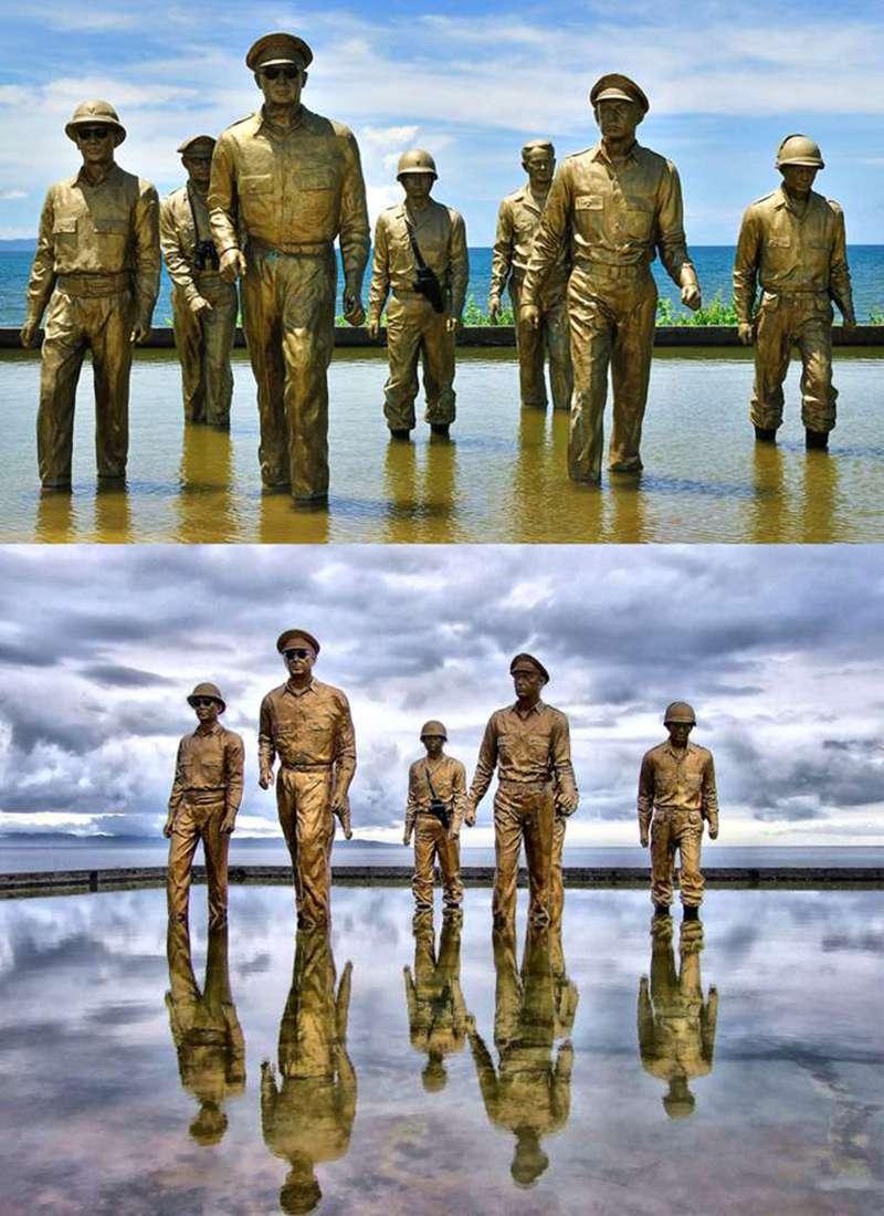 Bronze MacArthur Leyte-Landing Memorial Sculptures