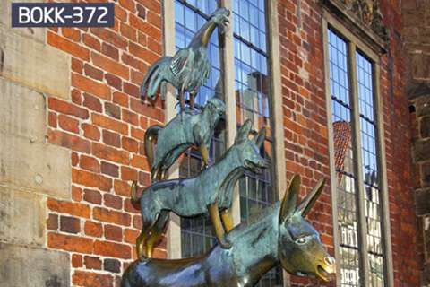 Cheap Famous Bronze Animal Sculptures of Musician in Bremen BOKK-372