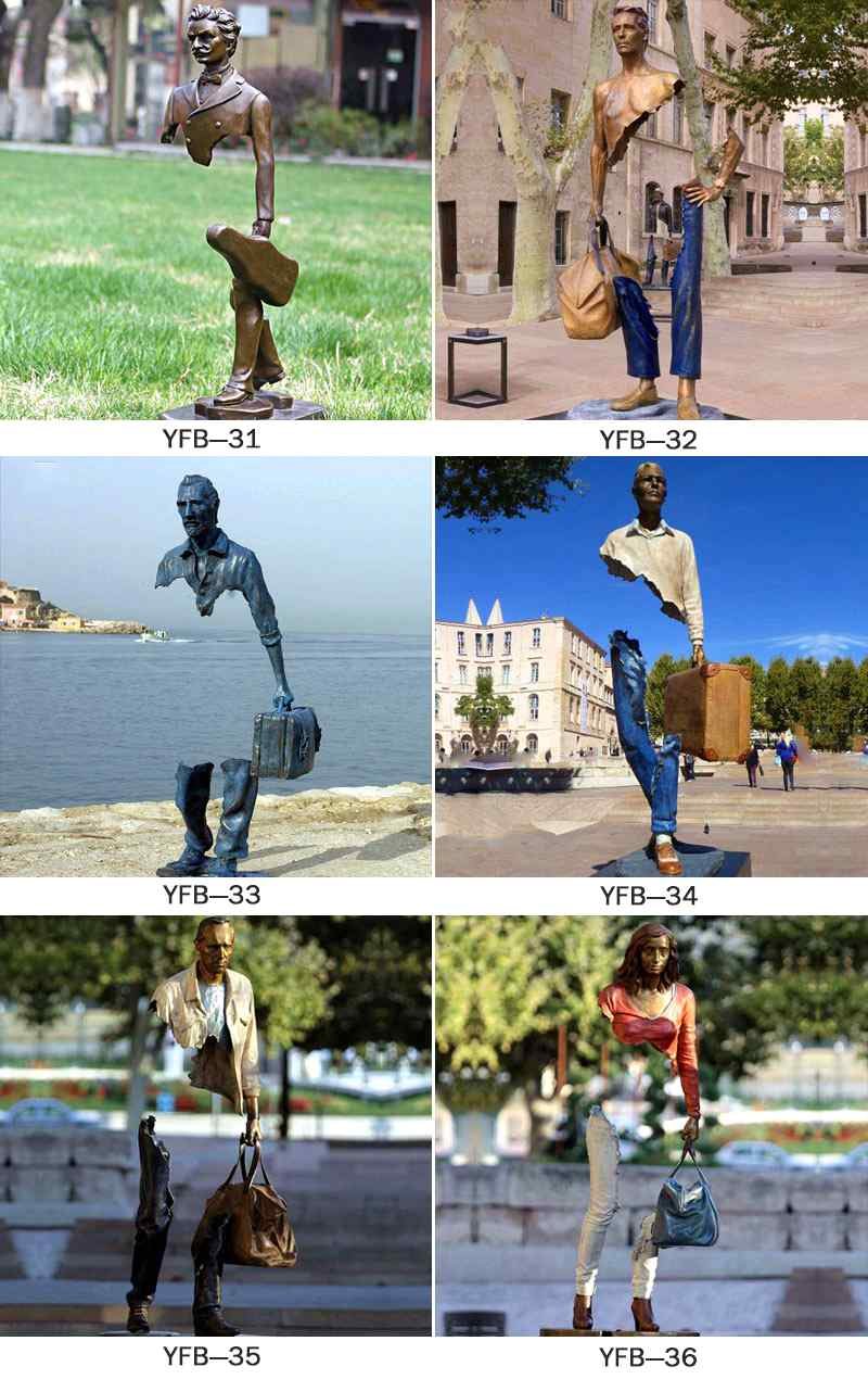 Factory Supply Urban Bronze Male Traveler Sculpture BOKK