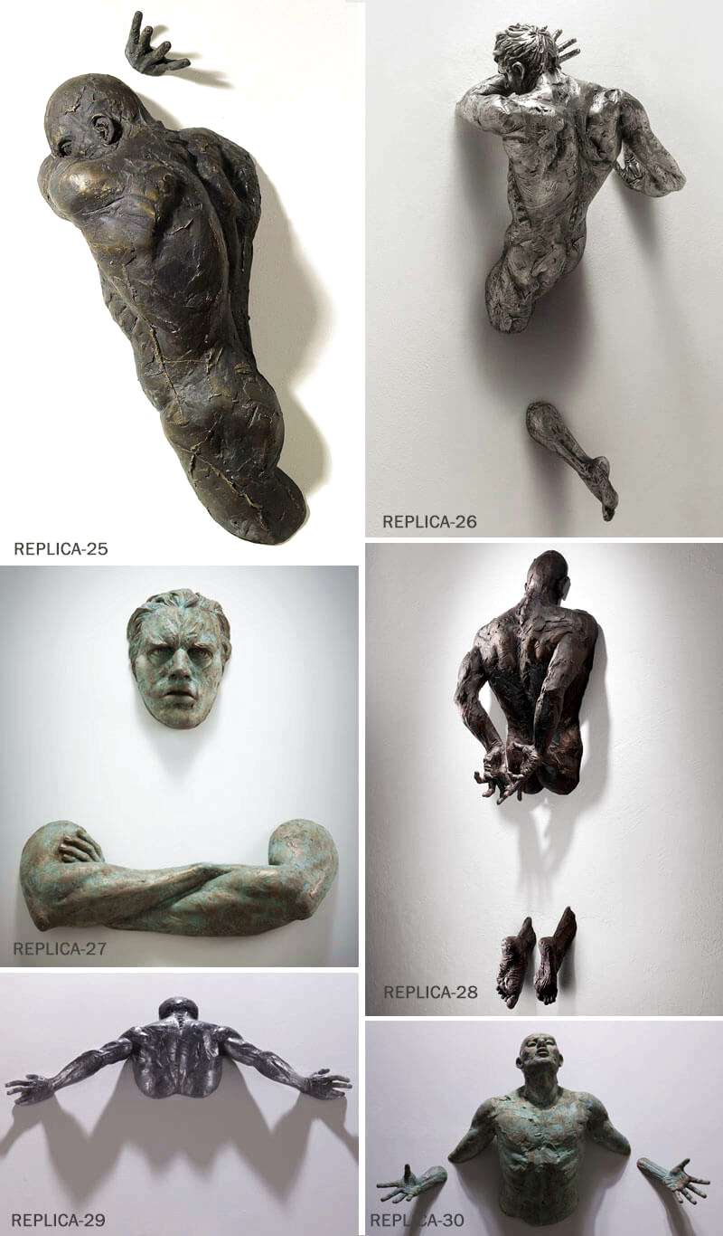 Sale Creative Bronze Climbing Man Sculpture for the Wall