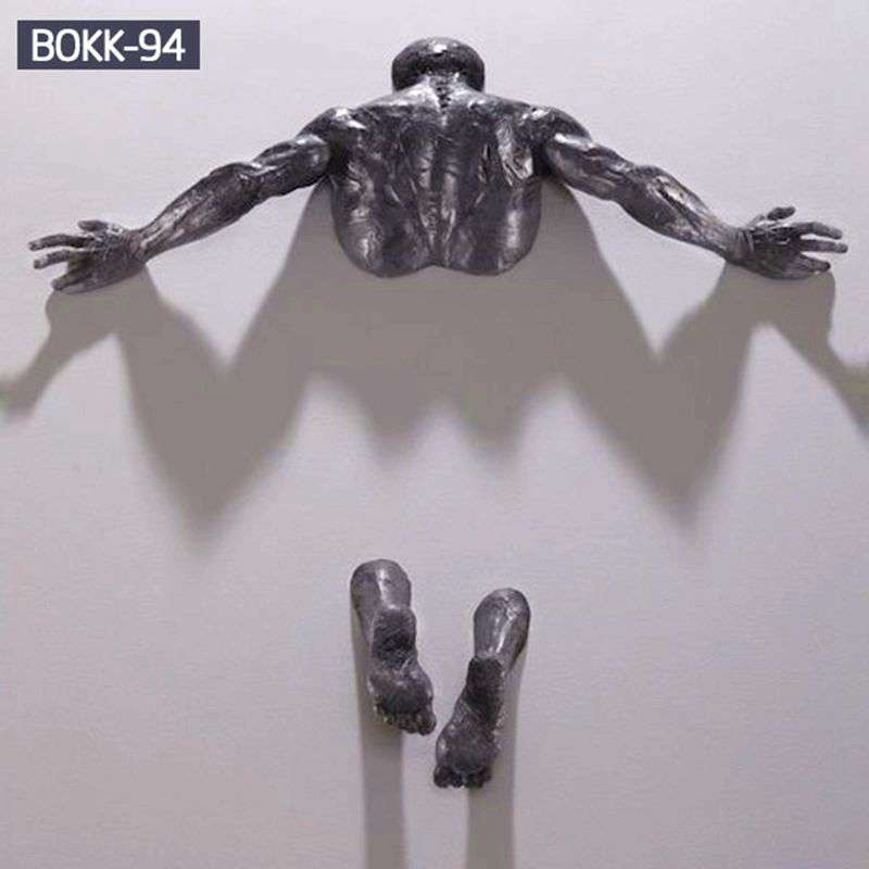 Sale Creative Bronze Climbing Man Sculpture for the Wall BOKK-94