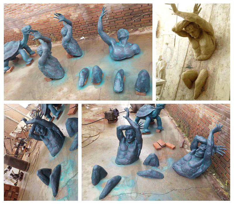 Size Creative Bronze Climb Man Statue of France