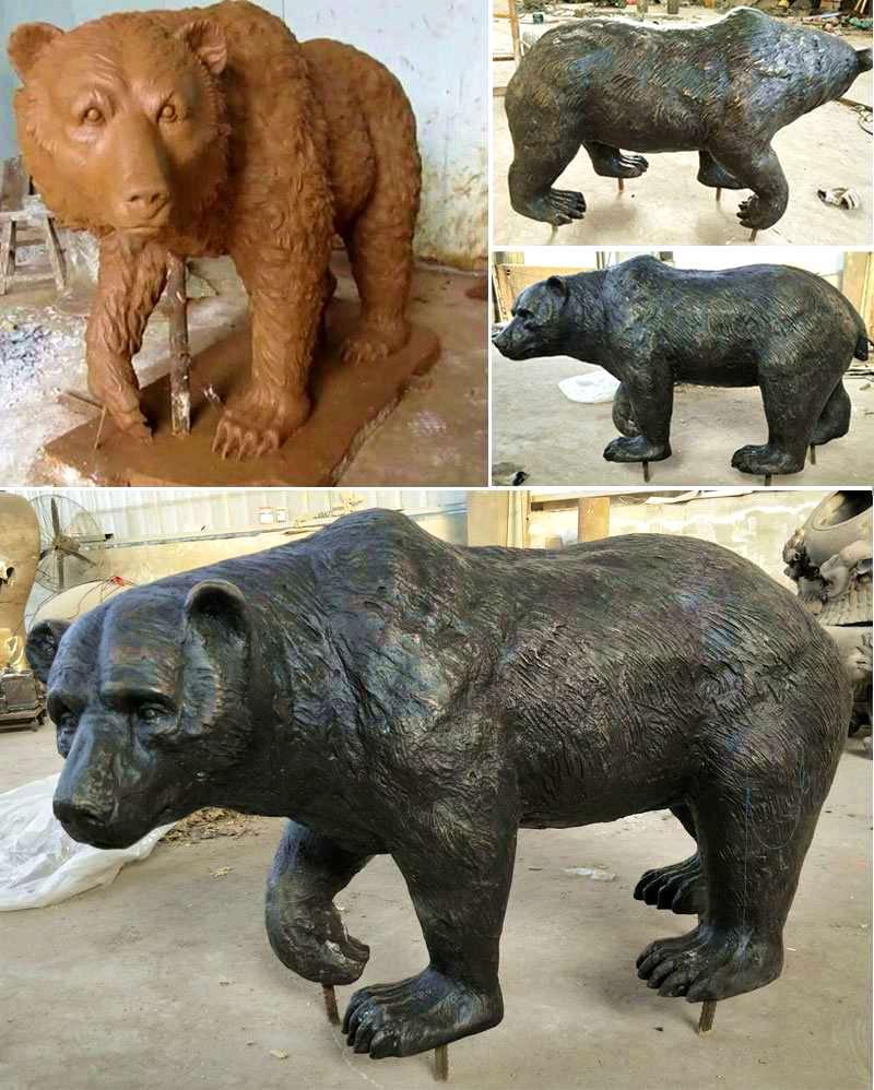 Large Wild Bronze Bear Sculpture for Sale BOKK