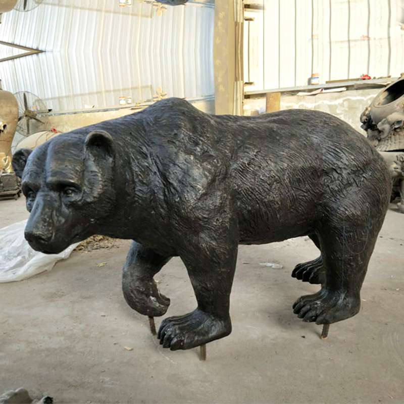 Large Wild Bronze Bear Sculpture for Sale